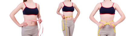 Young girl with centimeter in dieting concept Stock Photo