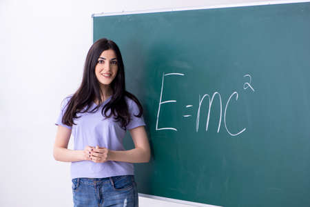 Young female teacher student in front of green board Imagens
