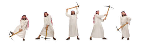 Arab man with ice axe isolated on white Standard-Bild - 124457631
