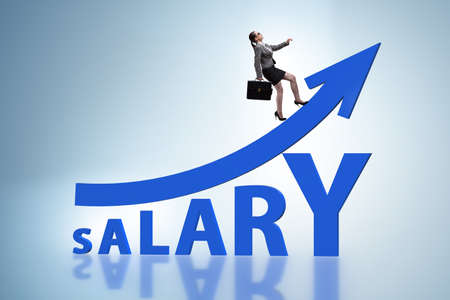 Concept of increasing salary with businesswoman
