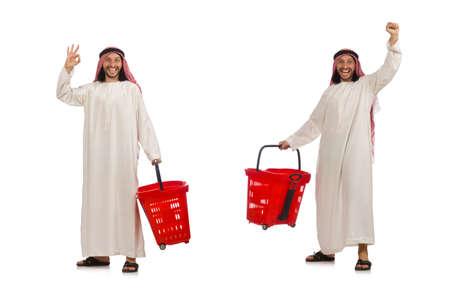 Arab man doing shopping isolated on white Standard-Bild - 124456470