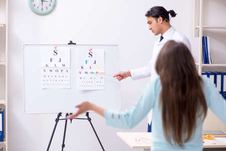 Young woman visiting male doctor oculist Imagens