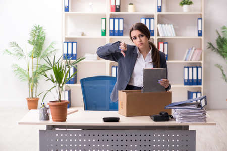 Dismissal and firing concept with woman employee Foto de archivo - 124804086
