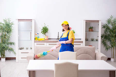 Old female contractor doing housework Imagens