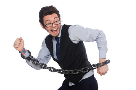 Chained male employee isolated on white Stock Photo