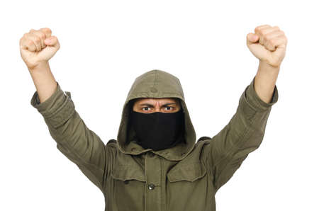 Criminal wearing mask isolated on white