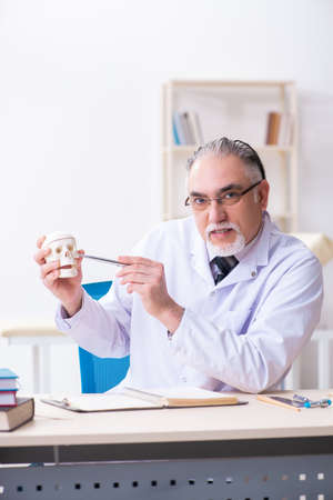 Aged male doctor with skeleton Stock Photo - 124808108