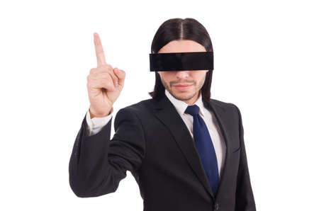 Young man with black face mask on white Stock Photo