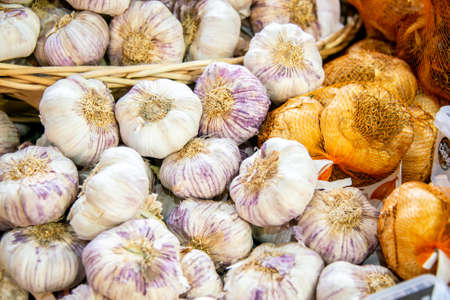 Garlic at the market display stall 写真素材