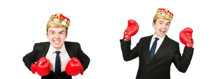 Funny businessman with crown and boxing gloves Stockfoto