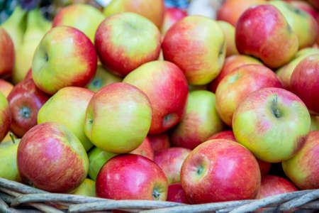 Apples at the market display stall