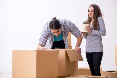 Young pair moving to new flat