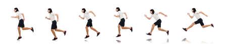 Man exercising isolated on white