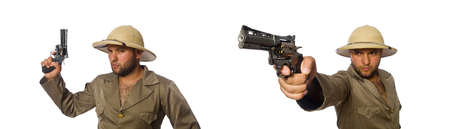 Man with gun isolated on white background