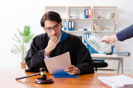Young woman visiting male lawyer Stock Photo