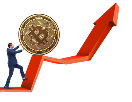 Businessman pushing bitcoin in cryptocurrency blockchain concept