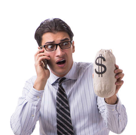 Young businessman with money sack isolated on white background