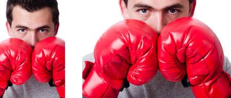 Boxer preparing for the tournament isolated on white Stock Photo