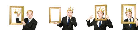 Man with picture frame isolated on the white Standard-Bild