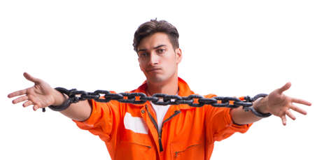 Prisoner with his hands chained isolated on white background Stock Photo