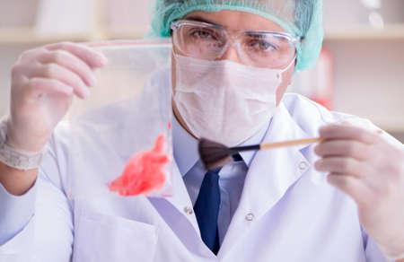 Forensics investigator working in lab on crime evidence Archivio Fotografico