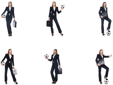 Businesslady with ball on white 版權商用圖片