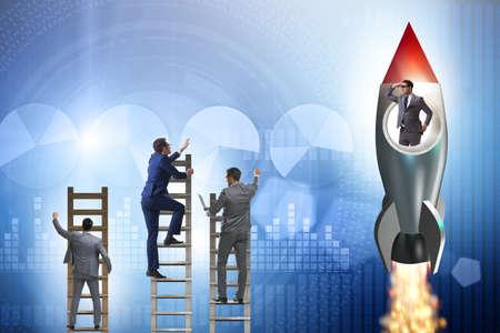 Concept de concurrence avec l'homme d'affaires sur la fusée