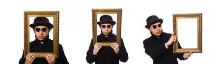 Junger Mann mit Rahmen isoliert auf weiß Standard-Bild