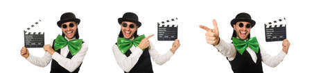 Man with big green bow tie in funny concept Stockfoto