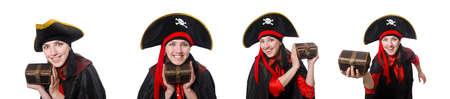 Female pirate in black coat isolated on white 免版税图像 - 126939081
