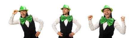 Man with big green bow tie in funny concept