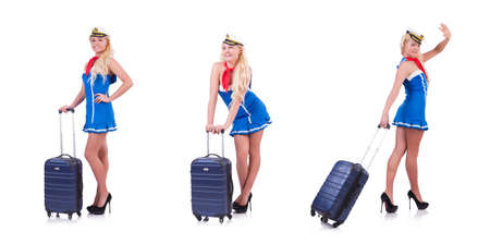 Woman travel attendant with suitcase isolated on a white background