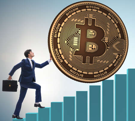 Businessman pushing bitcoin in cryptocurrency blockchain concept Stock Photo