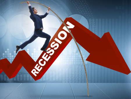 Biznesmen skok o tyczce nad kryzysem w koncepcji biznesowej
