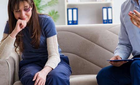 Psychologist counselling woman beaten by husband