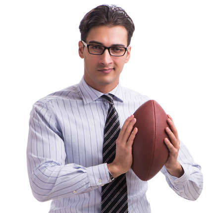 Young businessman with american football isolated on white