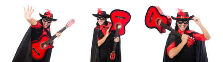 Young man in carnival coat  with guitar isolated on white