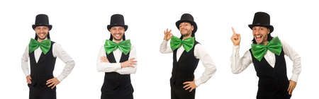 Man with big green bow tie in funny concept 免版税图像