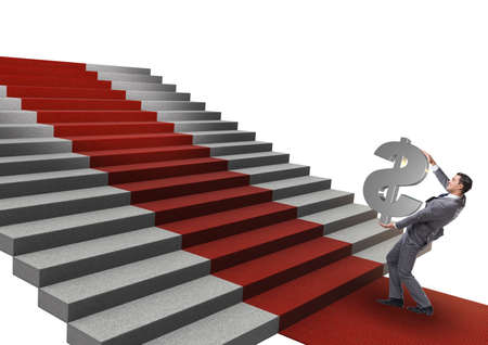 Young businessman climbing stairs and red carpet on white backgr Imagens