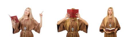Female prayer isolated on white 스톡 콘텐츠