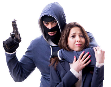 Businesswoman is kidnapped by the gunman 版權商用圖片