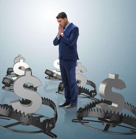 Businessman being trapped by dollar Reklamní fotografie
