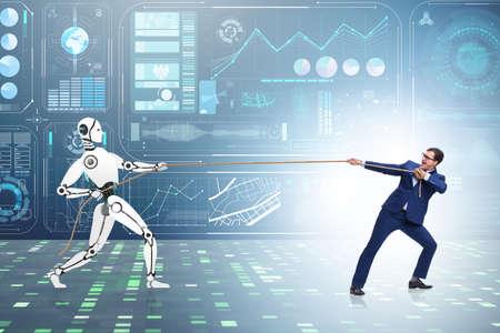 Wettbewerb zwischen Mensch und Roboter im Tauziehen-Konzept