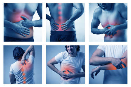 Collage of man suffering from acute pain
