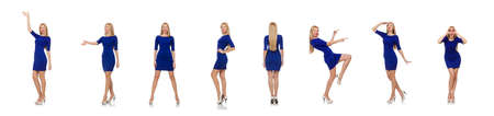 Pretty caucasian girl in blue dress isolated on white