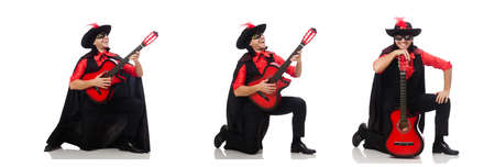 Young man in carnival coat  with guitar isolated on white Banco de Imagens - 128016539