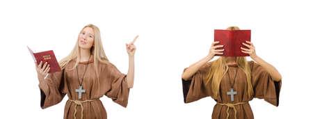 Female prayer isolated on white Stock Photo