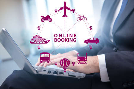 Concept of online booking for trip Stockfoto