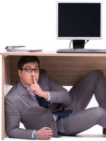 Homme affaires, cacher, ofice
