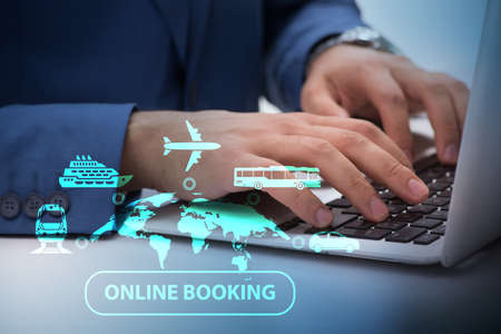 Concept of online booking for trip Stock Photo